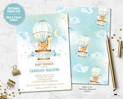 Whimsical Hot <b>Air Balloon Cute Animals</b> Baby Boy Shower Invitation ...