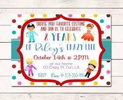 Crazy Town Costume Party Birthday Invitation