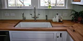 reclaimed white oak wood countertops with undermount sink
