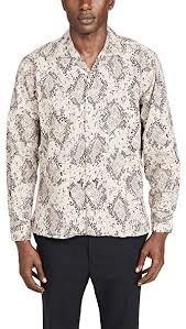 Gitman Vintage Mens Polar Snake Print Shirt Jacket White