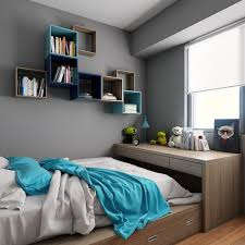 Shelving For Bedroom Grey Wall Color With Sleek Platform Bed Using Nice Wooden Drawers