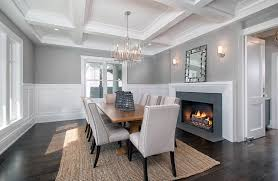 Image Contemporary Dining Dining Room With Silver Chandelier White Wainscoting Dark Wood Floors And Gray Painted Walls Designing Idea Dining Room Lighting Ideas best Interior Design Styles Designing