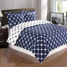 soft 100 combed cotton 3 piece duvet cover set full queen navy com