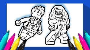 Ms Marvel And Captain Marvel Coloring Page Lego Superheroes 2 Avengers