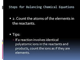 steps for balancing chemical equations
