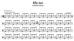 drum set sheet music drum sheet music to billie jean by micheal jackson drum sheet