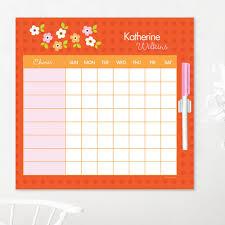 Chore Lists For Teens Orange Preppy Flowers Chore Chart