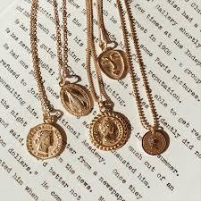 ashley summer co gold medallion pendant necklace coin