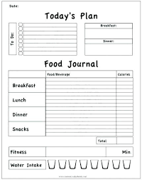 Exercise Logs Template Food Calendar Template Meal Plan Chart Free Weekly Diary Printable