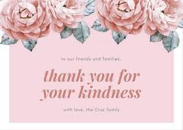 Thank you card images Watercolor Pink Floral Funeral Thank You Card Canva Customize 33 Funeral Thank You Card Templates Online Canva