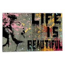 shop banksy life is beautiful canvas wall art free shipping on orders over 45 overstock 10793610 on canvas wall art overstock with shop banksy life is beautiful canvas wall art free shipping on