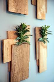 succulent planters wood planks and succulents as wall decor