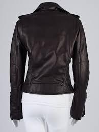 balenciaga black lambskin leather classic biker jacket size 12 44