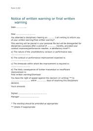 9 Disciplinary Warning Letters Free Samples Examples