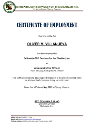 Employee Of The Quarter Certificate Sample Of Certificate Employment As Nurse Example For Nurses