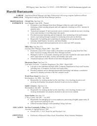 Sample Resume Objectives Retail Management Ideas Manager Related