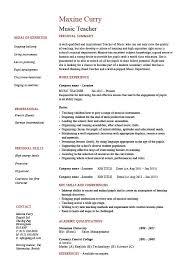 Teacher Curriculum Template Music Teacher Cv Template Job Description Resume
