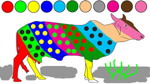 Small Picture Cow coloring game learn colors for kids animals colouring pages
