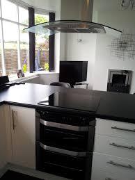 Double Oven Kitchen Design Sleek Modern Black White Kitchen With Breakfast Bar Glass