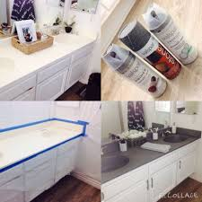 DIY | painting bathroom countertops using stone spray paint ...