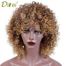 Difei Afro วกผมผหญงสบลอนดผสมสงเคราะห Wigs แอฟรกนทรงผม Afro Kinky Curly Wigs