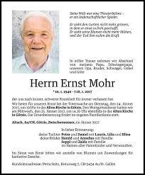 Ernst Mohr Todesanzeige Vn Todesanzeigen