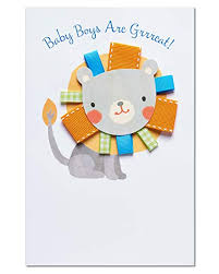 Amazon Com Lion New Baby Boy Congratulations Card With Ribbon