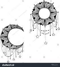 Moon Mandala Design Vector Beautiful Deco Black Moon And Sun Mandala Patterned