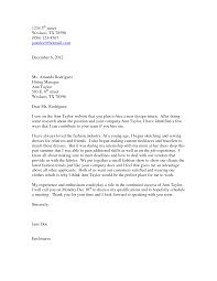 Collection Of Solutions Fashion Intern Cover Letter Examples In