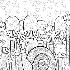 cute snail in mushroom forest coloring book page stock vector