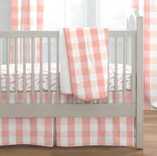 light c and peach buffalo check 3 piece crib bedding set