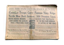 vimy ridge facts opinions a copy of a vancouver newspaper dated 10 1917 celebrating s role at the battle of vimy ridge