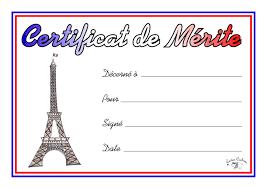 French Merit Certificate
