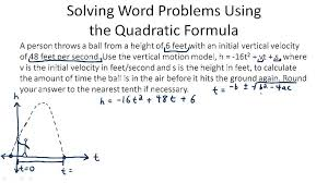 solving problems using the quadratic formula example 1