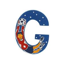 sparkly blue wooden letter g with colourful goalkeeper design hand screen printed on the front