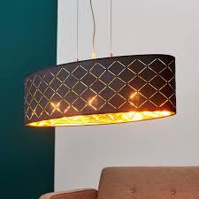 Details Zu Hängeleuchte Julita Oval Esszimmer Leuchte Lampenwelt Schwarz Gold Rauten E27