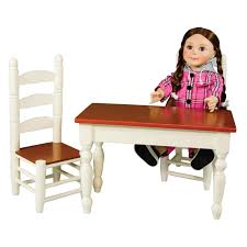 18 Inch Doll Furniture Off White Wooden Farmhouse Kitchen Table And