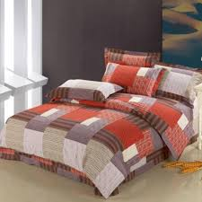 chocolate brown gray burnt orange personalized design patchwork plaid print full queen size orange bedding sets and covers