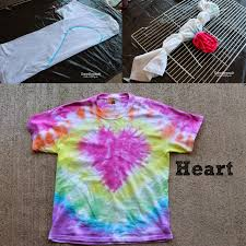 same technique as the rainbow fold shirt in half draw half heart scrunch the line so it all lines up zip tie and dye