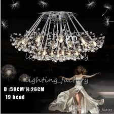 creative dandelion led crystal chandeliers 1 6 12 13 15 17 19 24leds head droplight modern minimalist k9 crystal pendant light room lights pink chandelier