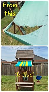diy swing set canopy replacement fix your swing set awing for 5 in 20 minutes