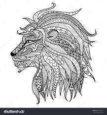 Hand Drawn Lion Coloring Page Stock