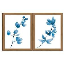 on framed blue wall art set with framed watercolor branch blue wall art