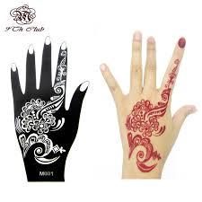 large templates 1pcs henna hand tattoo stencil flower glitter airbrush mehndi henna