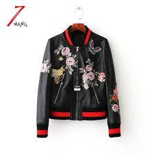 whole plus size 2017 autumn women street black embroidery flower printing pu leather baseball jacket long sleeve luxury er jacket wool jacket long