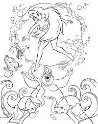 Walt Disney Coloring Pages Flounder Sebastian Princess Ariel