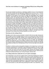how have recent advantages in computer technology effected story  lee jarrold a2 essay how have recent advances in computer technology effected story telling