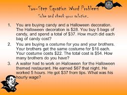 two step equation word problems solve and check your solution