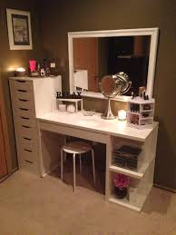 makeup organization and storage desk and dresser unit from ikea