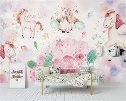 <b>Beibehang Custom Wallpaper</b> Modern Pink unicorn flower children's ...